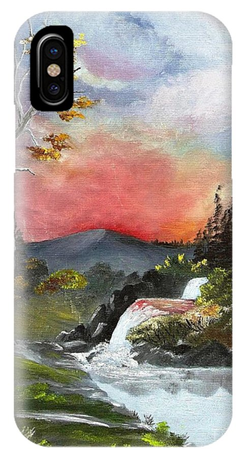 Mountain IPhone X Case featuring the painting Scarlet Sunset by Jessi and James Gault
