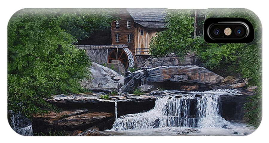 Grist Mill IPhone X Case featuring the painting Scenic Grist Mill by Vicky Path