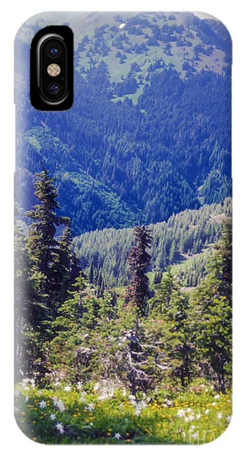 Olympic National Park Washington Parks Tree Trees Forest Forests Nature Landscape Landscapes Mountain Mountains Flower Flowers Wildflower Wildflowers IPhone X Case featuring the photograph Scenic Mountain Valley by Bob Phillips