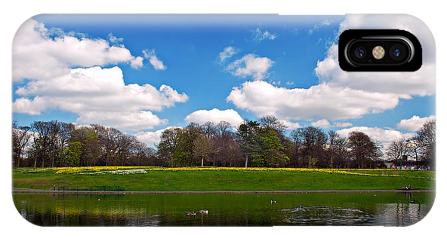 Park IPhone X Case featuring the photograph Scenic Park Lake In Spring Time by Ken Biggs