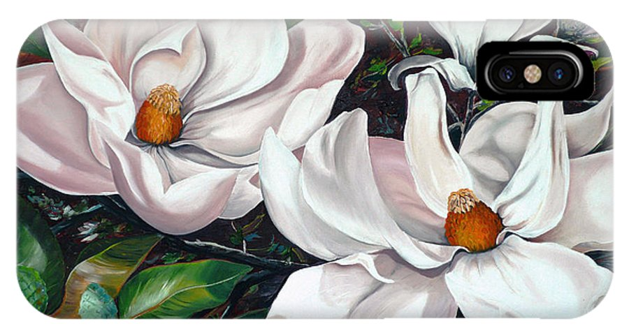 Magnolia Painting Flower Painting Botanical Painting Floral Painting Botanical Bloom Magnolia Flower White Flower Greeting Card Painting IPhone X Case featuring the painting Scent Of The South. by Karin Dawn Kelshall- Best