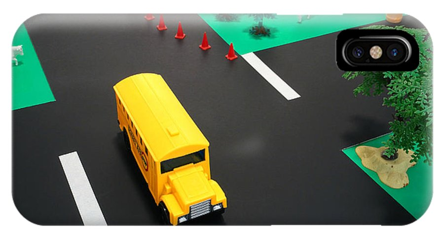 School IPhone X / XS Case featuring the photograph School Bus School by Olivier Le Queinec