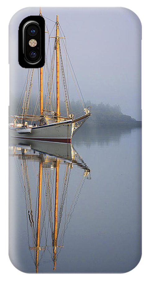 Schooner IPhone X Case featuring the photograph Schooner American Eagle At Anchor by Mikael Carstanjen