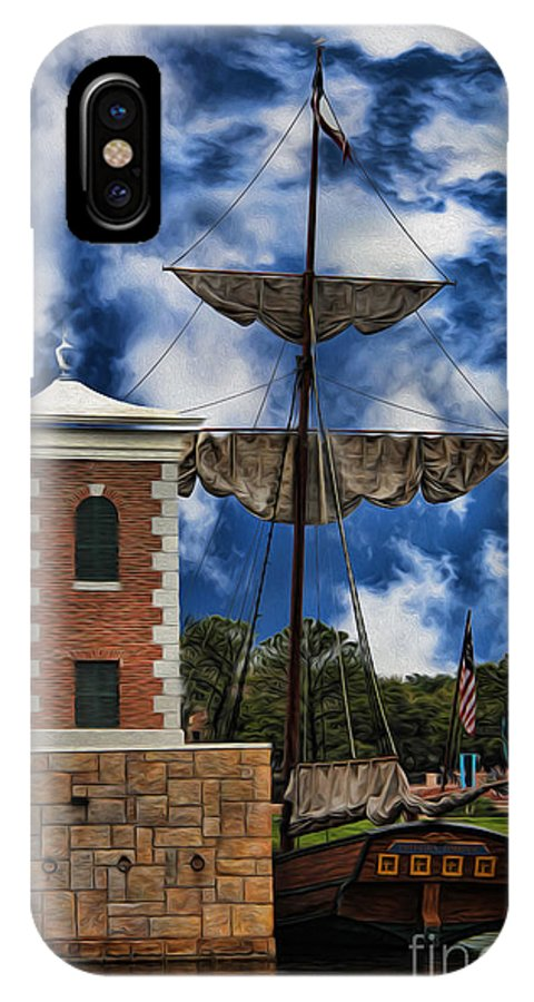 Warship IPhone X Case featuring the photograph Schooner At Port IIi by Lee Dos Santos