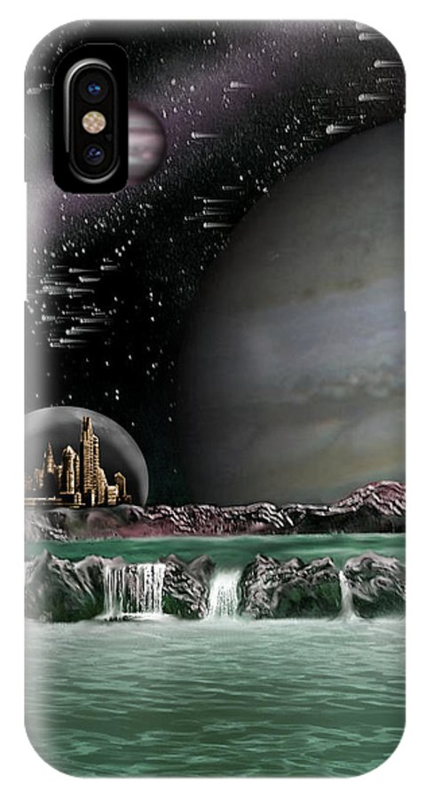 Alien IPhone X Case featuring the mixed media Sci-fi by Phil Rushton