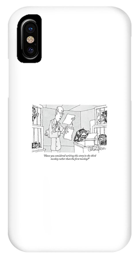 Science IPhone X Case featuring the drawing Scientist Talking To Monkey At Typewriter by Gahan Wilson