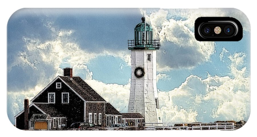 Scituate IPhone X Case featuring the photograph Scituate Lighthouse In Winter by Constantine Gregory
