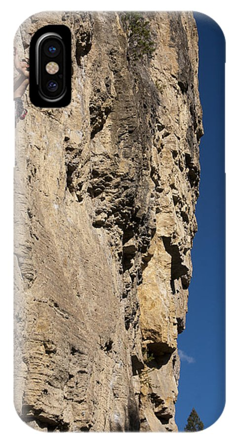 Rock Climbing IPhone X Case featuring the photograph Scorched Earth Climbing 3 by Jason Standiford