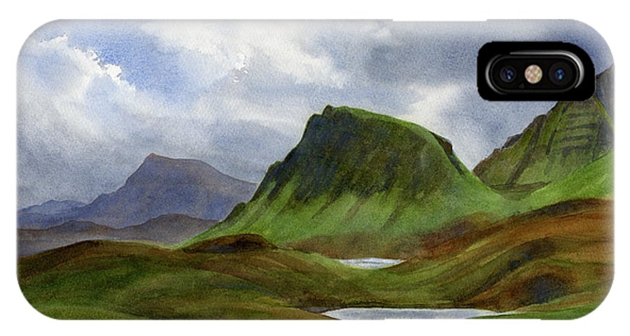 Scotland IPhone X Case featuring the painting Scotland Highlands Landscape by Sharon Freeman