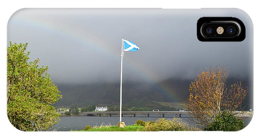 Scottish Flag IPhone X Case featuring the photograph Scottish Flag With A Rainbow by DejaVu Designs
