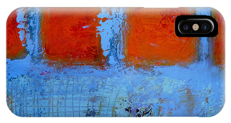 Blue Orange Abstract Painting IPhone X Case featuring the painting Scratched by Dan Hoglund