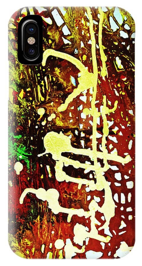 Amber IPhone X Case featuring the painting Scrawled by Kusum Vij
