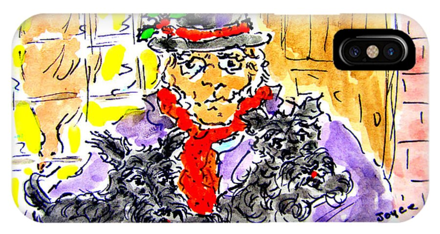 Scrooge IPhone X Case featuring the painting Scrooge And Scotties by Joyce Kenney