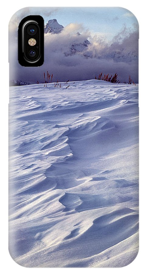 Wind Blown Snow IPhone X / XS Case featuring the photograph 1m9347-sculptured Snow And Grand Teton by Ed Cooper Photography