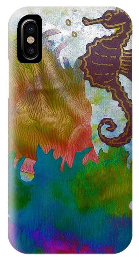 Sea Horse IPhone X Case featuring the mixed media Sea Horse by Katerina Kovatcheva