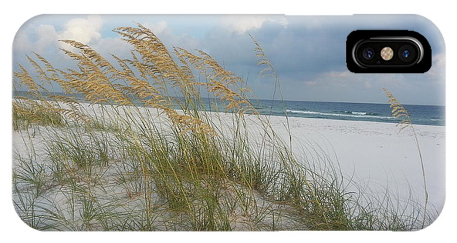 Seascape Landscape Outdoor Scenery Beach Beach Scene Sand Water Sea Oats Ocean Gulf Of Mexico Pensacola Beach Navarre Beach Panama City Beach Fort Walton Beach IPhone X Case featuring the photograph Sea Oats Blowing In The Wind by Michelle Powell