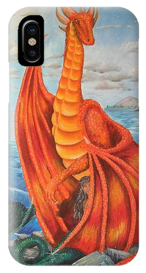Dragon IPhone X Case featuring the painting Sea Shore Pair by Nicole Angell