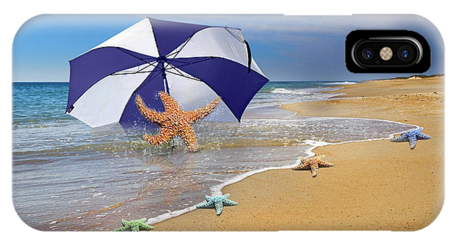 Starfish IPhone X Case featuring the digital art Sea Star Celebration by Betsy Knapp