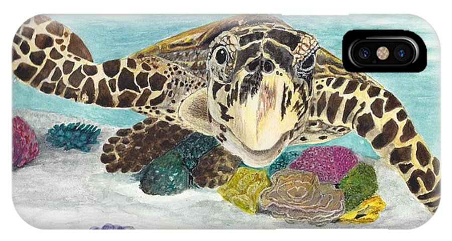 Turtle IPhone X Case featuring the painting Sea Turtle Hello by Toni Willey