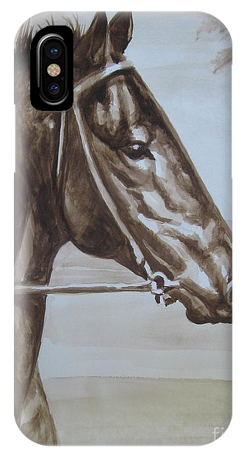 Watercolor IPhone X Case featuring the painting Seabiscuit by Nancy J Bailey