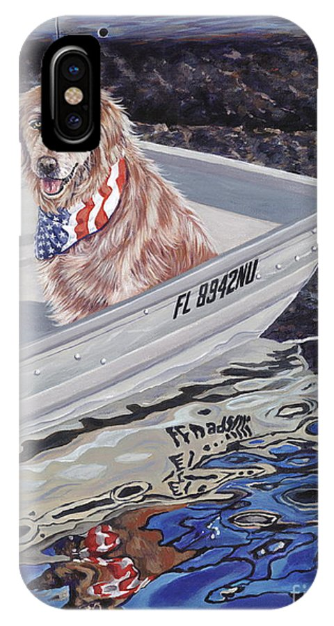Golden Retriever IPhone X Case featuring the painting Seadog by Danielle Perry