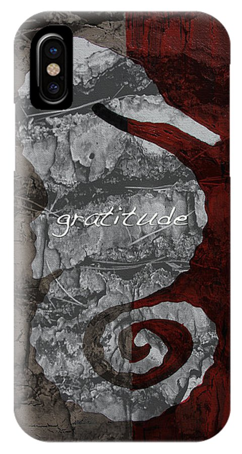 Animals IPhone X Case featuring the mixed media Seahorse Gratitude by Sam Lea