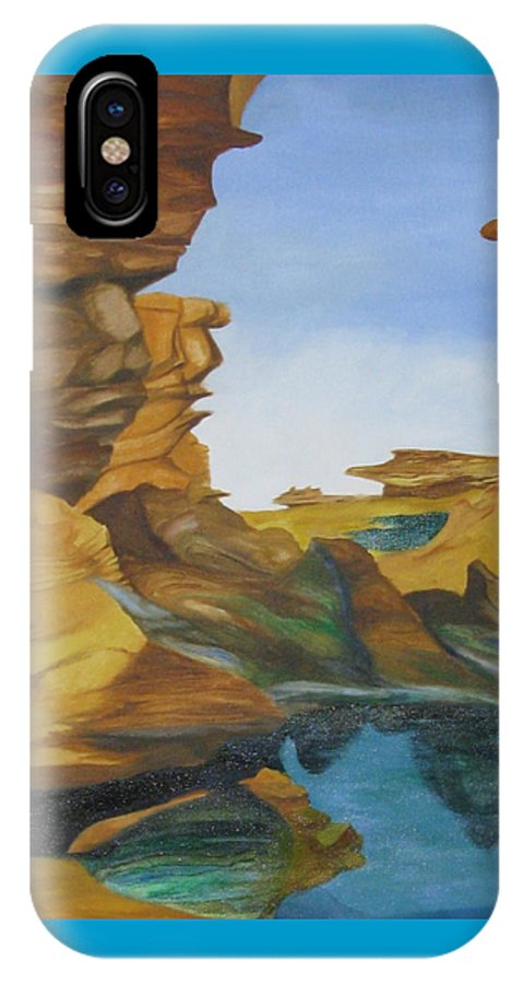 Abstract Surrealism IPhone X Case featuring the painting Seal Cove by Richard Dotson