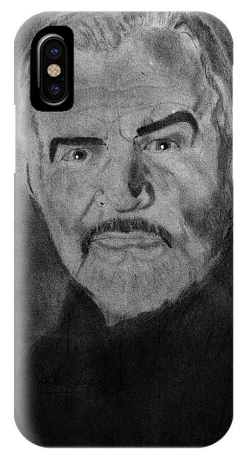 Celebrities IPhone X Case featuring the drawing Sean Connery First Knight by Jack Lepper