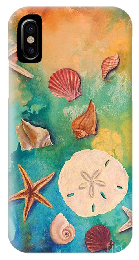 Seashells Artwork IPhone X Case featuring the painting Seashells Fantasy by Gabriela Valencia