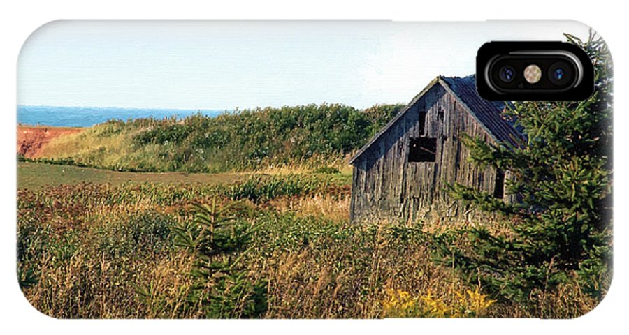 Landscape IPhone X Case featuring the painting Seaside Shed - September by RC DeWinter