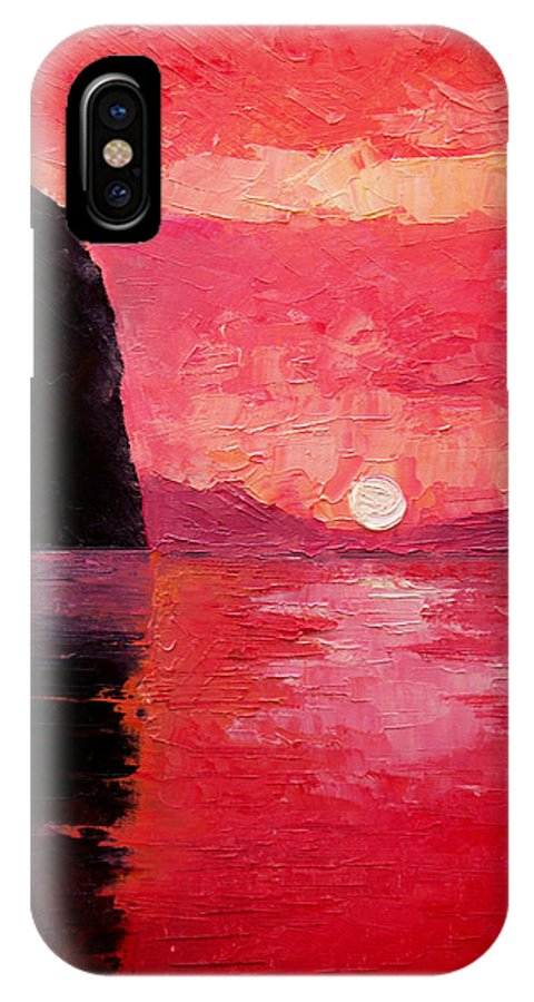 Landscape IPhone X Case featuring the painting Seaside Sunset by Sergey Bezhinets