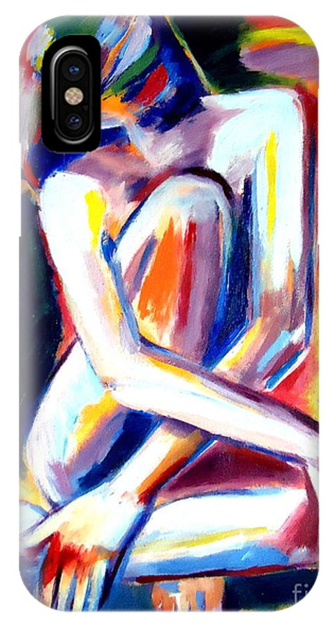 Nude Figures IPhone X Case featuring the painting Seated Lady by Helena Wierzbicki