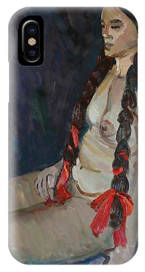 Breast IPhone X Case featuring the painting Seated Nude by Juliya Zhukova