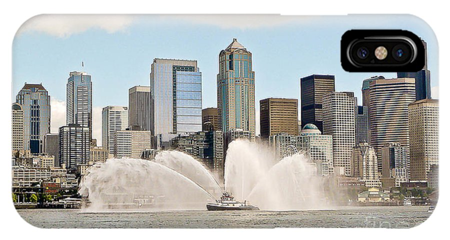 Seattle IPhone X Case featuring the photograph Seattle Downtown With Fireboat by Tisha Clinkenbeard