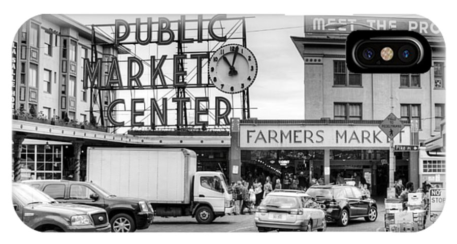 Seattle Photography - Black And White Pike Place Public Market IPhone X Case