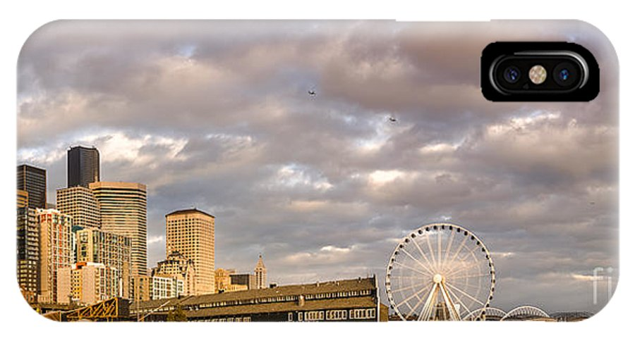 Seattle IPhone X / XS Case featuring the photograph Seattle Waterfront Bathed In Golden Hour - Seattle Skyline - Puget Sound Washington State by Silvio Ligutti