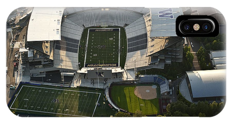 Husky Stadium IPhone X Case featuring the photograph Seattle With Aerial View Of The Newly Renovated Husky Stadium by Jim Corwin