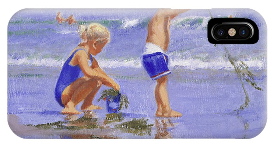 Beach IPhone X / XS Case featuring the painting Seaweed Play by Candace Lovely