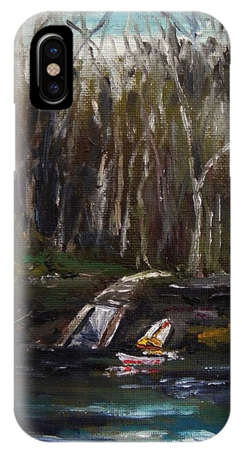 Secluded Boat Launch IPhone X Case featuring the painting Secluded Boat Launch by John Williams