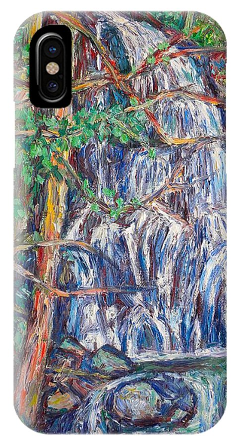 Waterfall IPhone X / XS Case featuring the painting Secluded Waterfall by Kendall Kessler