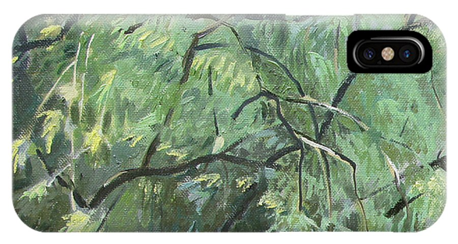 Original IPhone X Case featuring the painting Second Puzzle Of Biotop by Robert Keseru