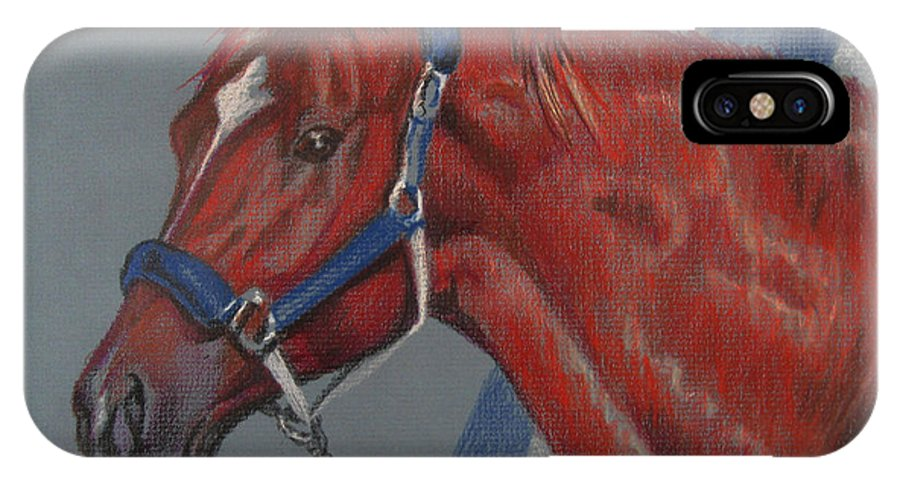 Secretariat IPhone X Case featuring the painting Secretariat by Nancy J Bailey