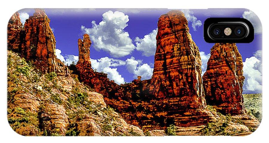 Sedona Arizona Red Rock Secret Mountain Wilderness IPhone X Case featuring the digital art Sedona Arizona Red Rock Secret Mountain Wilderness by Bob and Nadine Johnston
