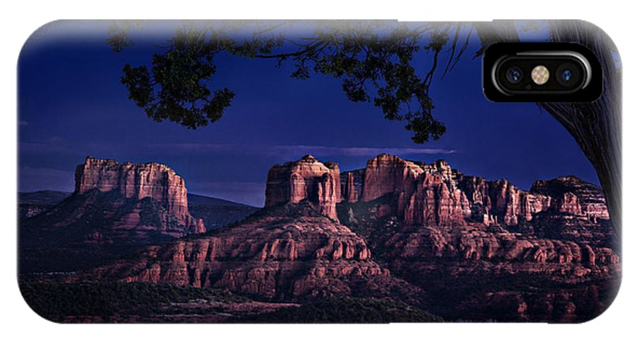 Sedona IPhone X Case featuring the photograph Sedona Cathedral Rock Post Sunset Glow by Mary Jo Allen