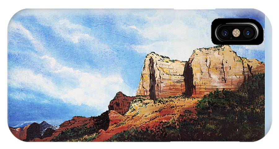 Sedona Arizona IPhone X Case featuring the painting Sedona Mountains by Mary Palmer