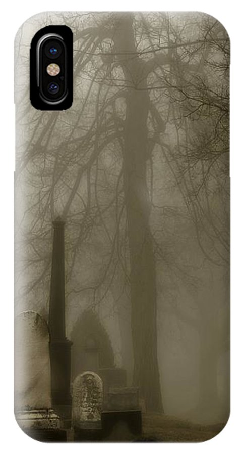 Fog IPhone X Case featuring the photograph A Graveyard Seeped In Fog by Gothicrow Images