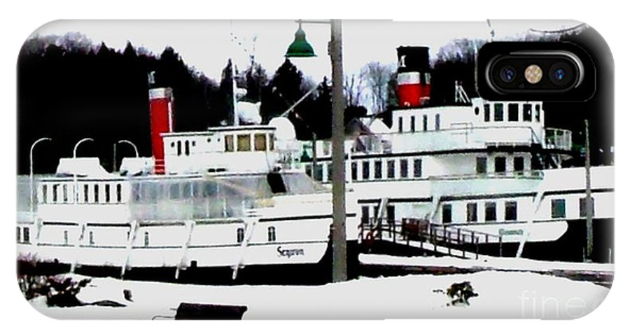Real Photo IPhone X Case featuring the photograph Segwun And Wenonah Steamships In Winter by Gail Matthews