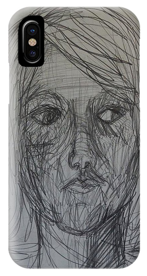 Portrait IPhone X Case featuring the drawing Self by Erika Chamberlin