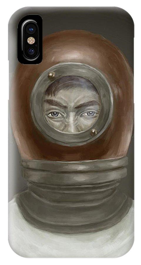 Digital IPhone X Case featuring the digital art Self Portrait by Balazs Solti