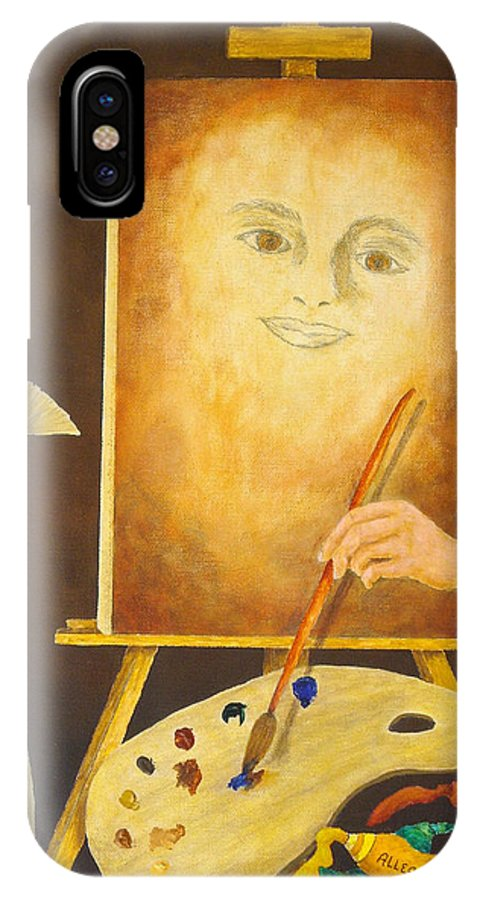 Pamela Allegretto IPhone X Case featuring the painting Self-portrait In Progress by Pamela Allegretto